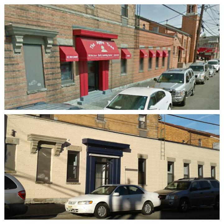 Before & After Exterior Commercial Painting at The Apple Tree Early Learning Center in Guttenberg, NJ